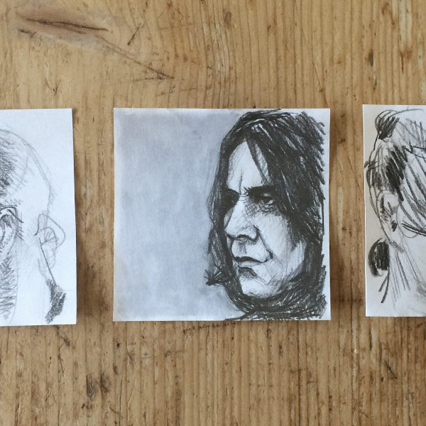 Portraits. Ich liebe Portraits. Bleistift auf Notizzettel, 10 x 10 cm.